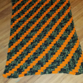 Made to order handmade crochet camo and hunter orange baby afghan!  39in X 48in!! Perfect size for a twin size bed!