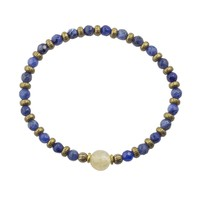"Sodalite and Yellow Quartz Fine Faceted ""Peace and Joy"" Bracelet"