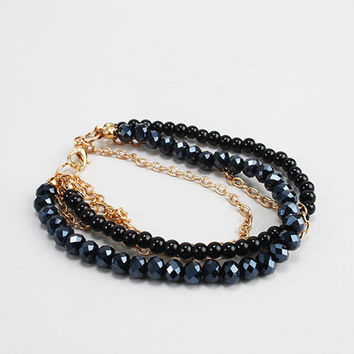 Bead & Chain Layered Bracelet