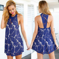 Blue A-line Lace Dress