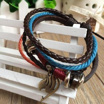 Men Women Unisex Hot Japan Anime Fairy Tail Attack On Titan Miku Naruto Multi Layer Pu Leather Bracelet