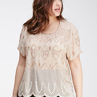 Bead-Embroidered Chiffon Top