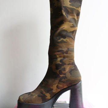90s Camo Platform Boots Size 7.5 US 38 EU Camouflage Seapunk Club Candy Rave Hella 90s