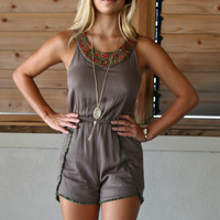 Brynn Bay Beaded Olive Romper