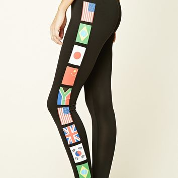 World Flags Print Leggings