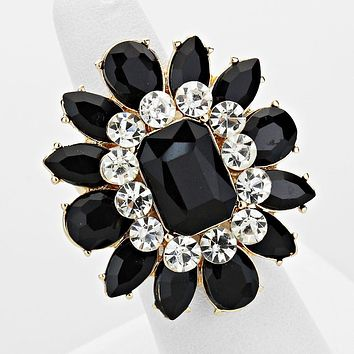 Black Crystal Flower Stretch Cocktail Ring