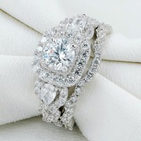 2pc 925 Sterling Silver Jewelry Halo Wedding Ring Sets