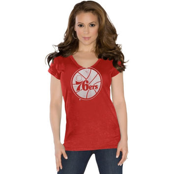 Touch by Alyssa Milano Philadelphia 76ers Ladies Field Goal V-Neck T-Shirt - Red
