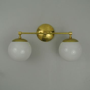 Double Mid Century Glass Wall Sconce