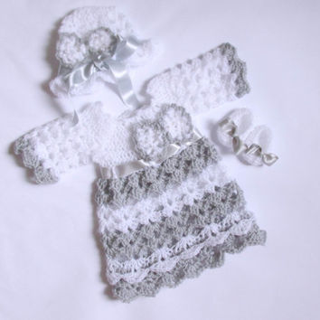 Baby take home outfit set silver gray white baby clothes newborn outfit baby girl matinee dress bow detail christening dress holiday