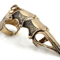 Cool Gothic Pewter Metal Punk Armour Knuckle Finger Ring