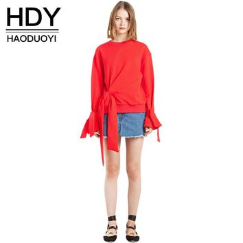 New Fashion Women Tops Flare Sleeve Female Pullover Tops Sweet Drawstring Solid Red Ladies Sweatshirts