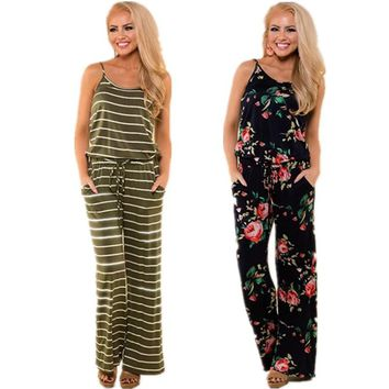 Lace Up Floral Print  Casual Loose Style Wide Leg Girls Beach Jumpsuits Rompers Female Overalls