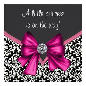 Elegant Hot Pink Black Damask Princess Baby Shower Invite from Zazzle.com
