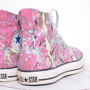 custom made splatter painted vintage hightop converse sneakers adult size 7 1 2
