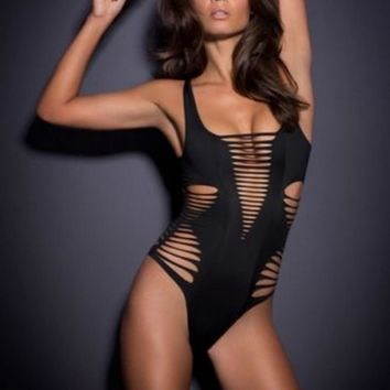 Hot One Piece swimsuit Women Thong Swimwear Pad Sexy High Cut Monokini Hollow Out Black Pool Bathing suit swimming Suits