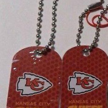 2 NFL Kansas City Chiefs Red Logo Dog Tags Key chains backpacks party Gift