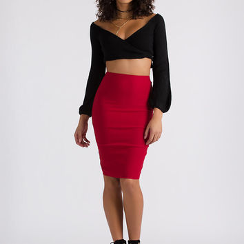 The Wrap Game Cropped Sweater Top