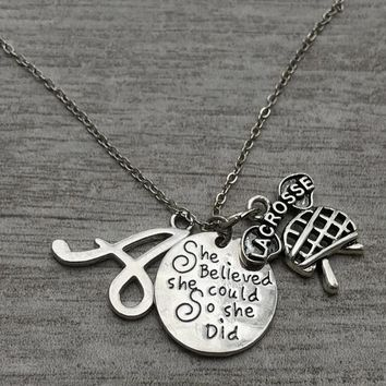 Personalized Girls Lacrosse Necklace- She Believed She Could So She Did