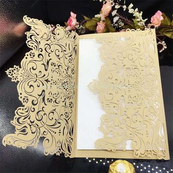 30Pcs Wedding Party Invitation Card Romantic Invitation Laser Cut Delicate Carved Pattern Wedding Invitations Party Supplies 7Z
