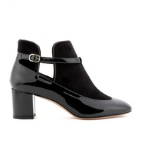 mytheresa.com - Patent-leather and velvet T-bar pumps - Luxury Fashion for Women / Designer clothing, shoes, bags