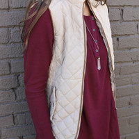 Longwood Gardens Beige Quilted Padded Vest With Pockets