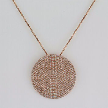 1.84ct Pavé Round Diamonds in 14K Gold Large Disc Circle Charm Necklace