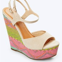 Geo Aztec Double Strap Wedge