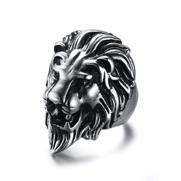 Mprainbow Men's Sliver Black Tone Polished Stainless Steel Lion Head Ring for Men Jewelry - 36mm Wide