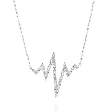 Heart Beat Diamond Necklace |14K Solid Gold Charm Necklace, Dainty Diamond Necklace,Heart Necklace,Heart Beat Pendant And Chain,EKG Necklace