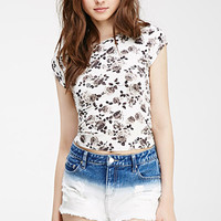 Rose Print Cap-Sleeved Top