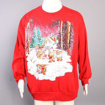 80s Ugly CHRISTMAS SWEATER / Glittery Snowman & Teddy BEARS Sweatshirt