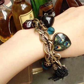 Retro Style Peacock Feather Pattern Gemstone Inlaid and Mutielement Bracelet