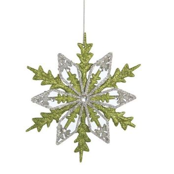 ONETOW 6' Good Tidings Silver and Green Glitter Drenched Snowflake Christmas Ornament