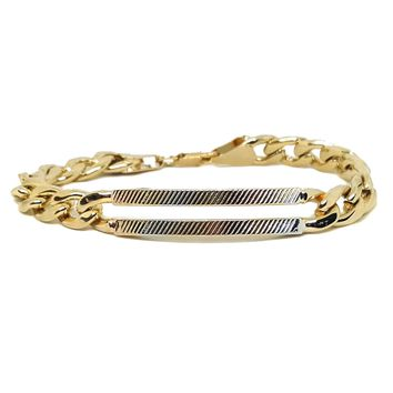 """(1-0916-h5) Gold Plated Cuban Link Bracelet with Three Tone ID Bar, 7-3/4"""" Slim Fit."""