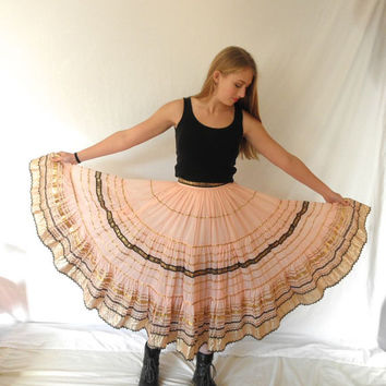 Cotton Candy 50s Pink Rockabilly Circle Skirt  // Vintage 1950s Patio Skirt Western Squaw // Pink Black Gold // Small
