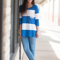 Blue Lacey Pocket Top