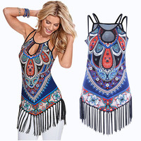 Womens Printed Camisole Boho Tribal Print Long Tank Top T-shirt Vintage Sleeveless Tassel Design Keyhole Neckline Tops