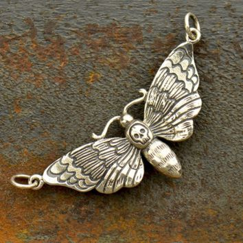 Sterling Silver Deaths Head Moth Charm