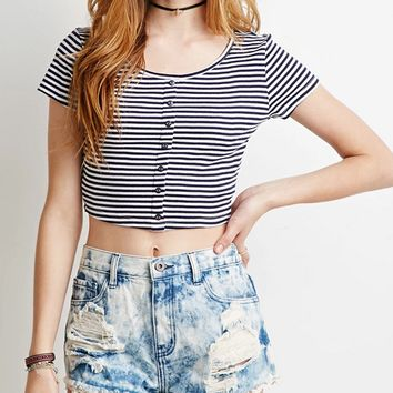 Casual Striped Button Down Crop Top