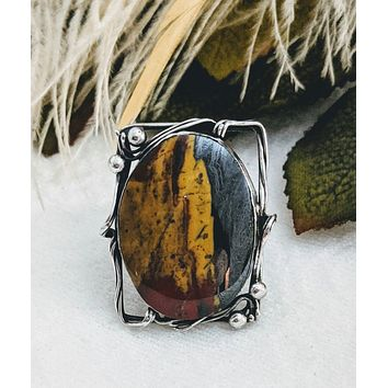 Artisan Crafted Sterling Silver Multi Colored Jasper Ring