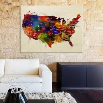 61716 - Large Watercolor America Map Canvas Print