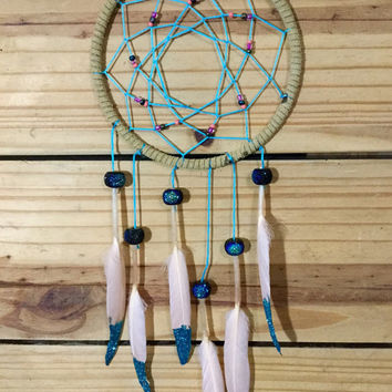Glitter Blue, Pink & Tan Dream Catcher