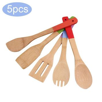 NEW 5Pcs Exquisite Natural Bamboo Cutlery Set Bamboo Wood Spoon Shovel Color Paint Handle Kitchen Utensils