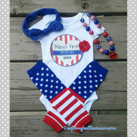 Personalized First 4th of July Outfit - Baby Girl - Stars and Stripes - Personalized Infant Patriotic Outfit - Baby Girl - Happy 4th of July