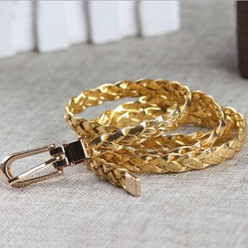 New Women Belt Ladies Faux Leather Metal Buckle Bling Gold Plate Straps Girls Belts Accessories Lady All-Match Waistband ZL200
