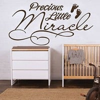 Wall Decals Quote Precious Little Miracle Children's Imprint Of Feet Decal Vinyl Sticker Family Bedroom Nursery Baby Room Home Decor Art Murals Ms701