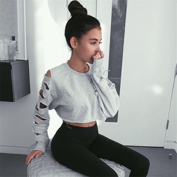 Hot Sale Ripped Holes Crop Top Round-neck Hoodies [9839927183]
