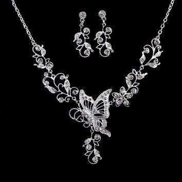 Wedding Jewelry Graceful Silver Color Alloy White Rhinestone Butterfly Leaf Pendant Necklace and Dangle Earrings Sets (Color: White) = 1932868292