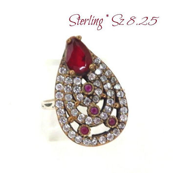 Vintage Ruby CZ Cocktail Ring, Faux Ruby Sterling Silver CZ Cocktail Ring, Size 8.25